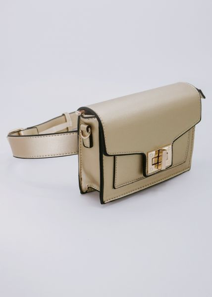 Gürteltasche / Tasche mit gold Verschluss, gold