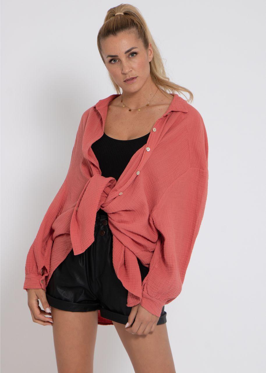 Ultra oversize Blusenhemd, hummerrot