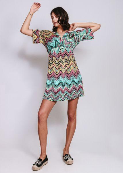 Jerseykleid mit Zick-Zack Print, türkis