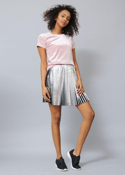 Samt Shirt mit Statement Print,rosa