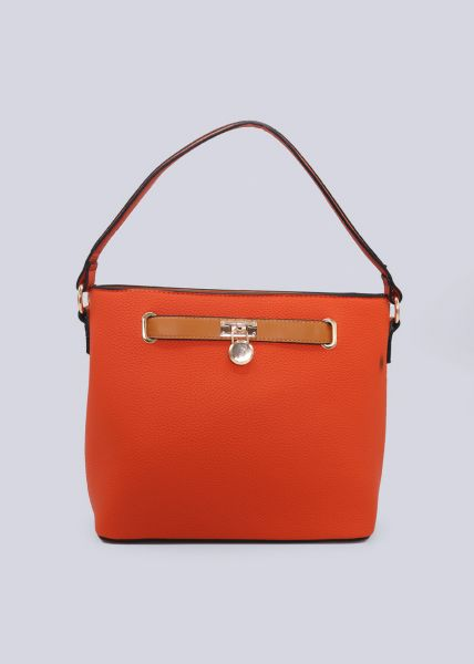 Henkeltasche mit gold Details, orange