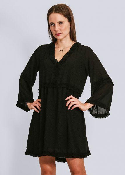 Hängerchenkleid mit Rüschenausschnitt, schwarz
