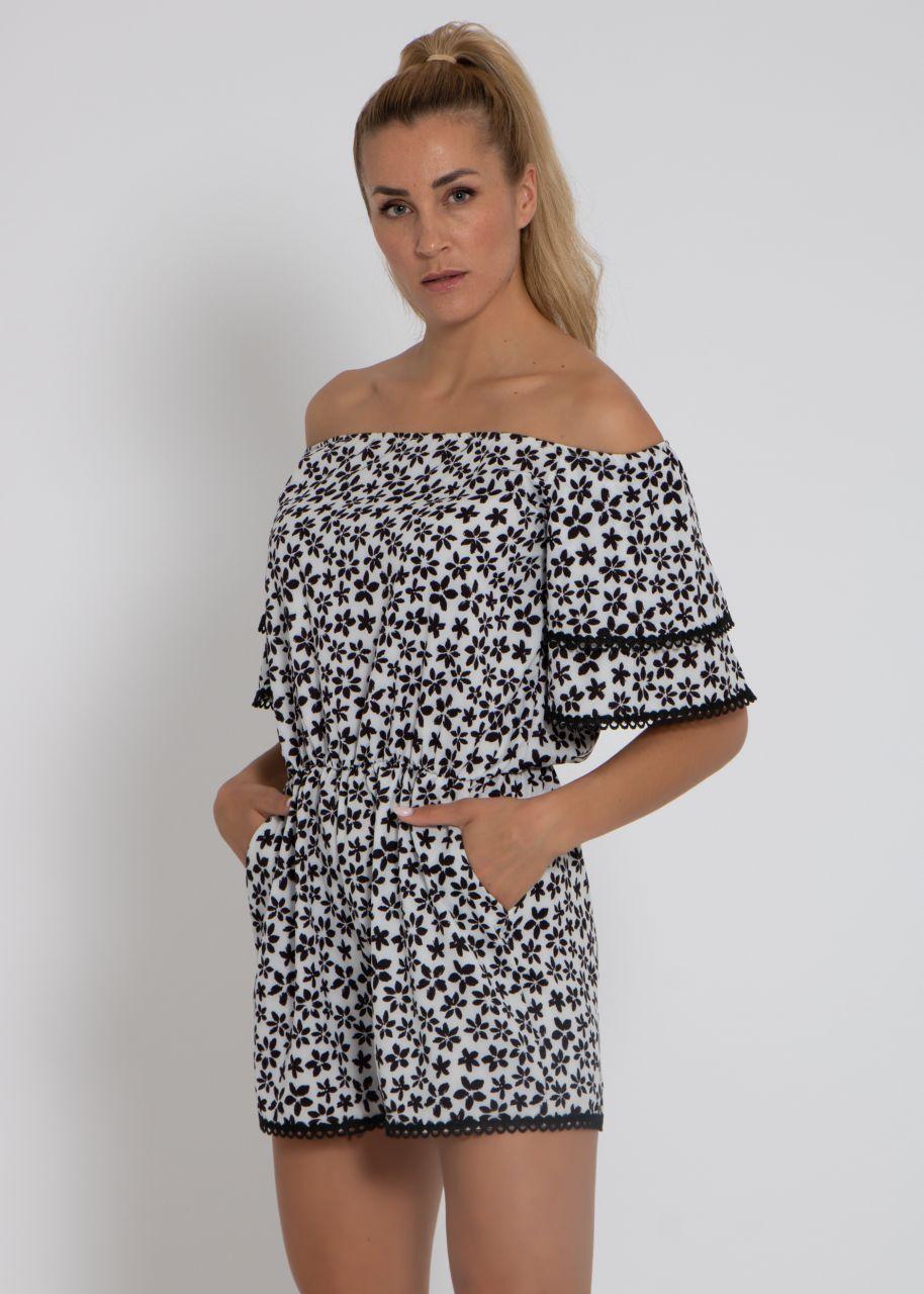 Jumpsuit mit Blumen-Print und Spitze, weiß/schwarz