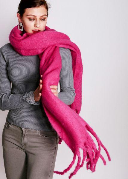Schal mit langen Fransen, neonpink