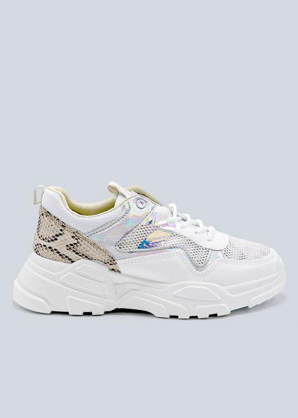 Plateau-Sneaker mit Snake Ferse, weiß