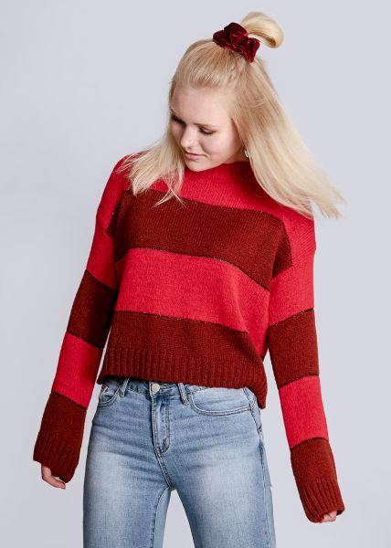 Streifen-Pullover, rot/braun