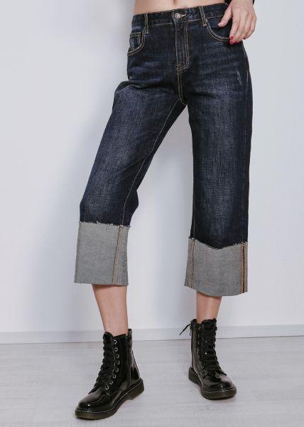 Boyfriend-Jeans mit breitem Aufschlag