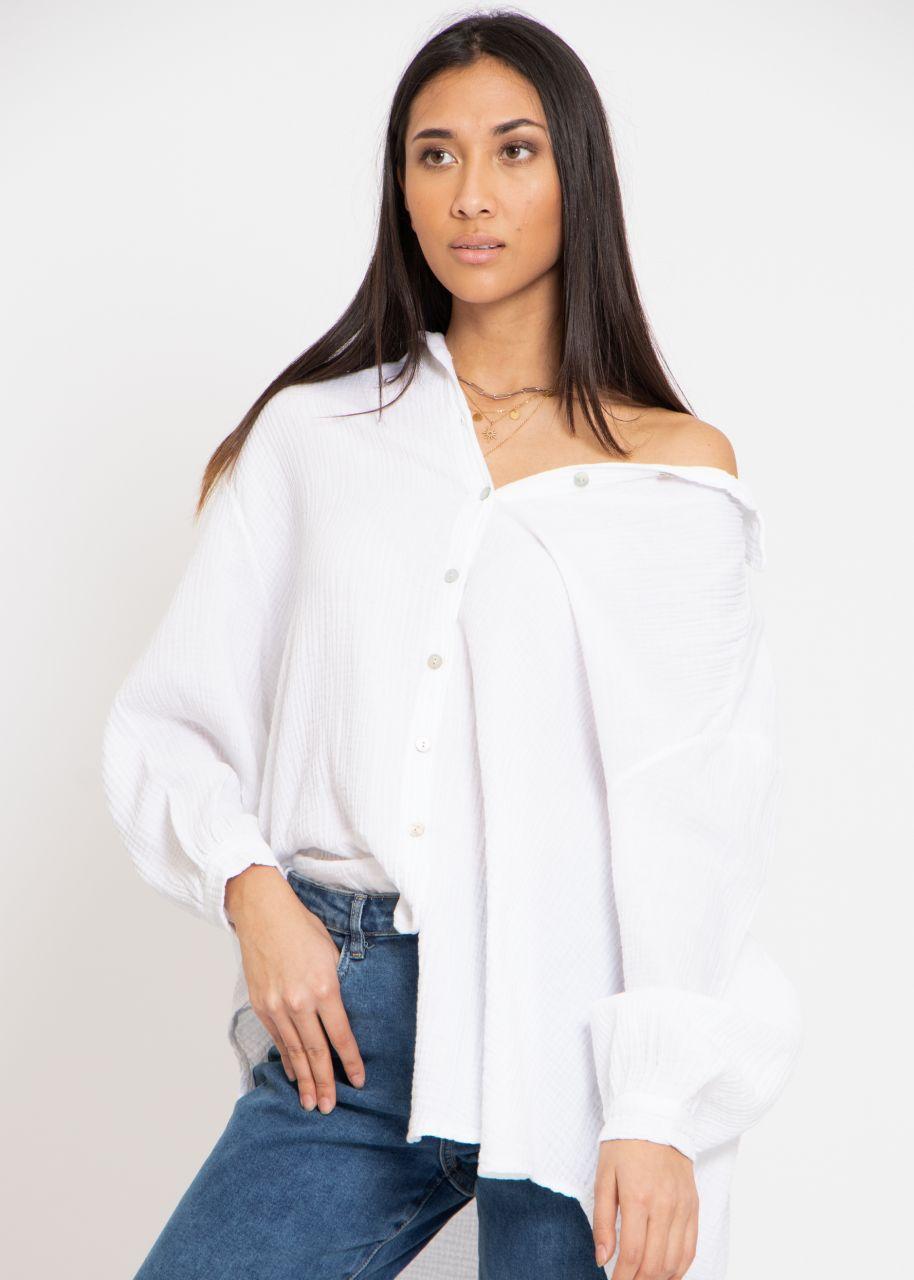 Ultra oversize Blusenhemd, weiß