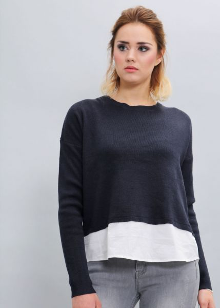 Two in One Pullover, blau