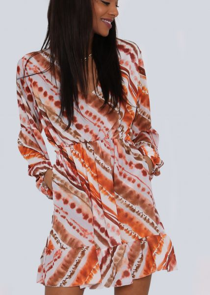 Chiffonkleid in Batik-Print, orange