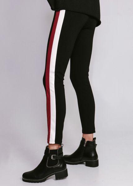 Leggings mit farbigen Kunstlederstreifen, schwarz