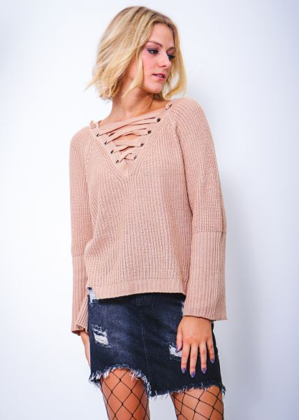 Lace-Up Pullover, beige