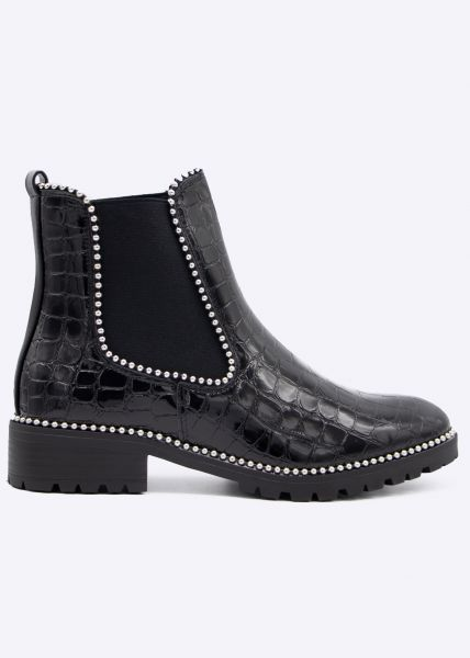 Kroko Chelsea-Boots mit kleinen Kugelnieten, schwarz