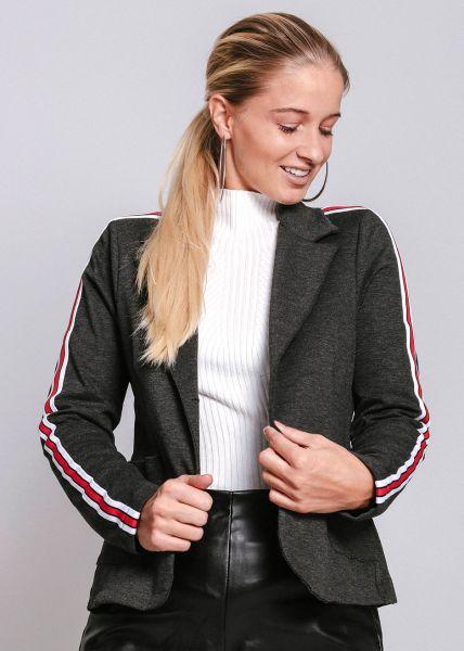 Jersey-Blazer mit Streifen, dunkelgrau