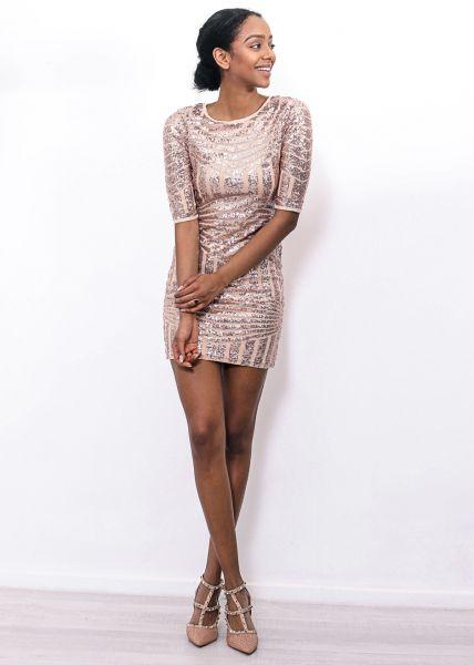 Pailletten-Kleid, roségold