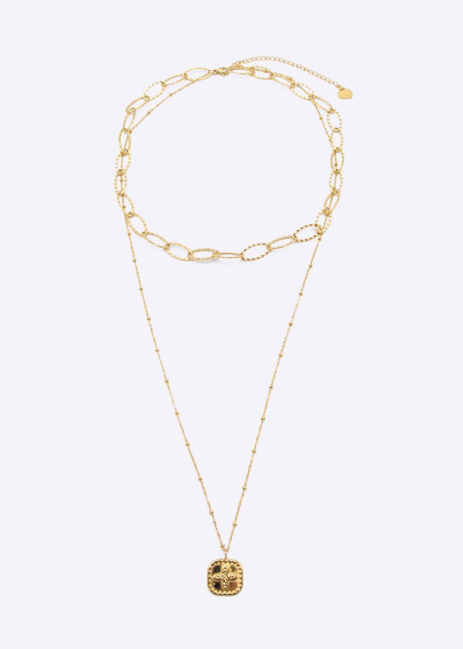 Kombinierte Halskette mit Kreuz, gold