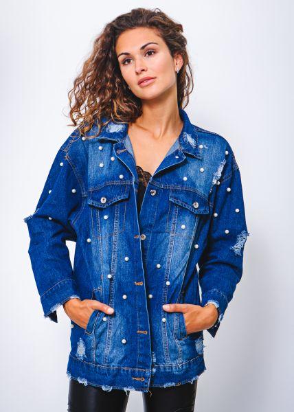 Oversize Jeansjacke mit Perlen, blau