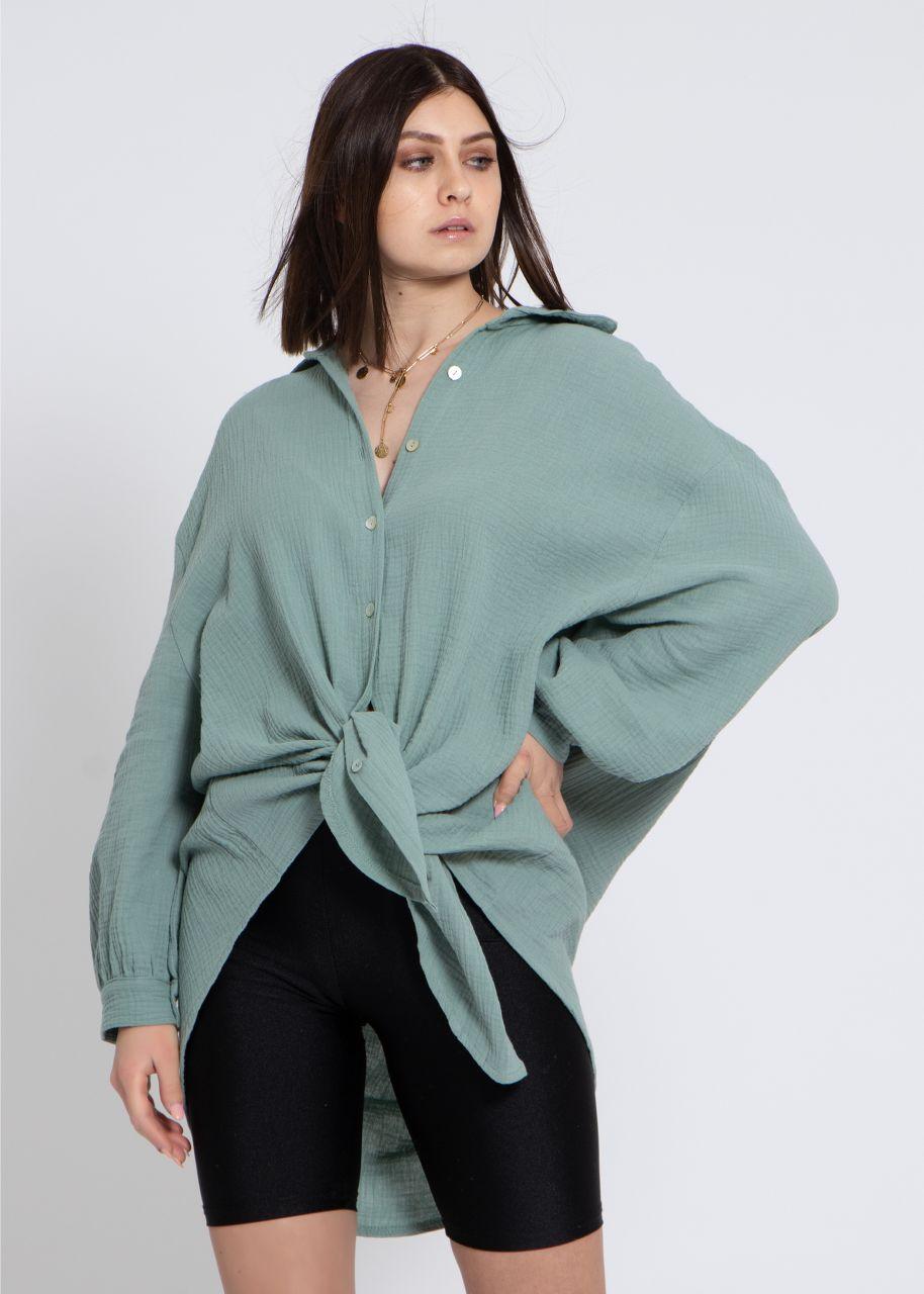 Ultra oversize Blusenhemd, grün