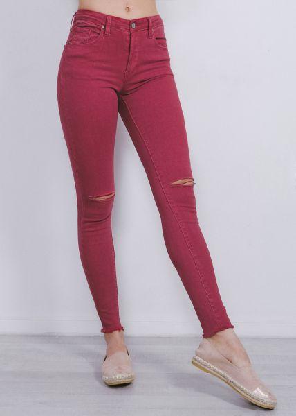 Skinny highwaist Jeans, rot