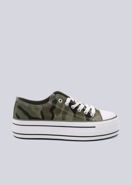 Sneaker mit Plateau, Camou
