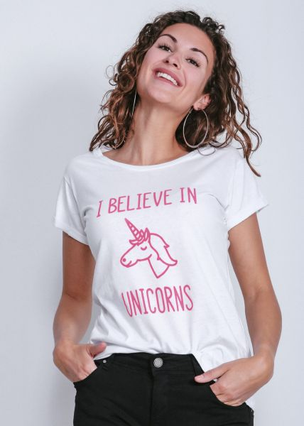 Unicorn-T-Shirt, weiß