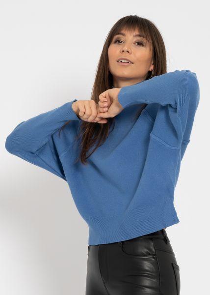 Oversize Turtleneck-Pullover, blau