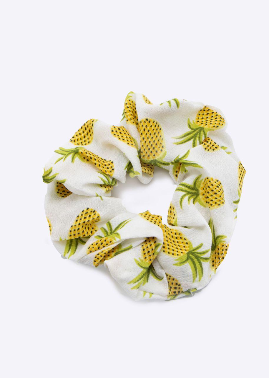 Scrunchie mit Ananas-Print, offwhite