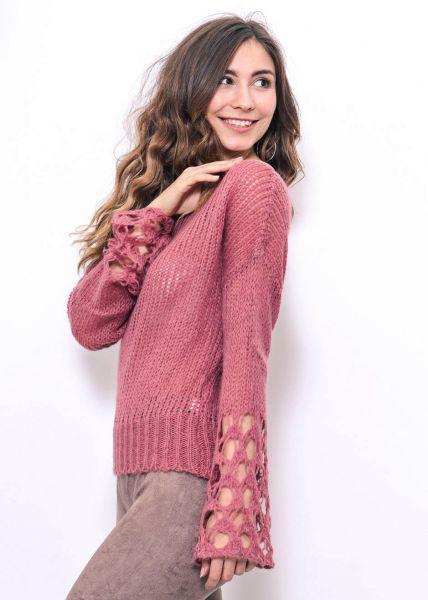 Pullover mit weitem Ausschnitt, mauve