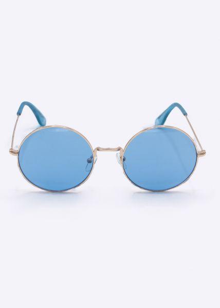 Runde Sonnenbrille mit blauen Gläsern, rosegold