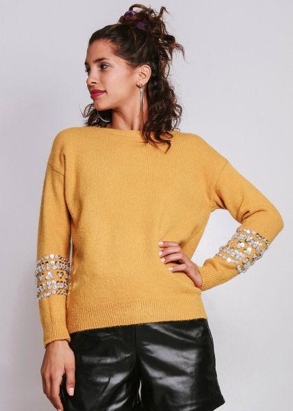 Pullover mit Pailletten, gelb