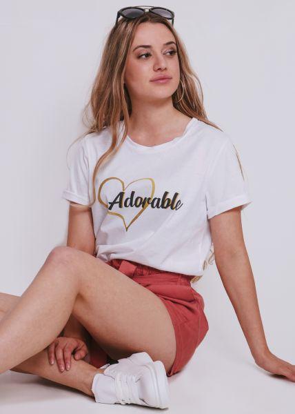 """T-Shirt """"Adorable"""", weiß"""