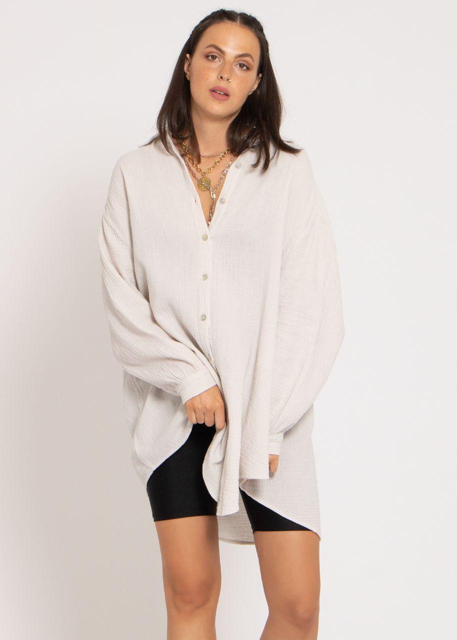 Ultra oversize Blusenhemd, hellbeige
