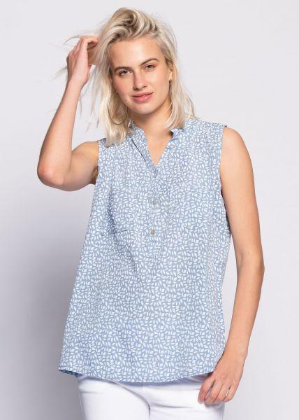 Ärmellose Bluse mit Print, blau
