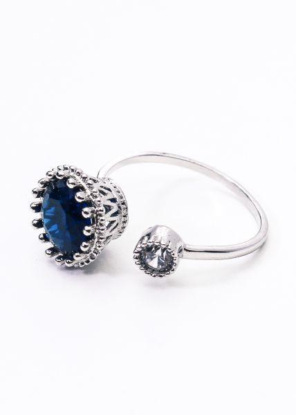 Ring mit blauem Stein, silbern