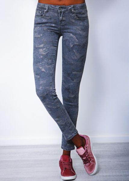 Glänzende skinny Jeans, khaki