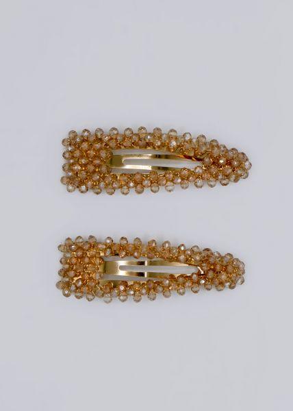 2er Set: Haarspangen mit Perlchen, beige