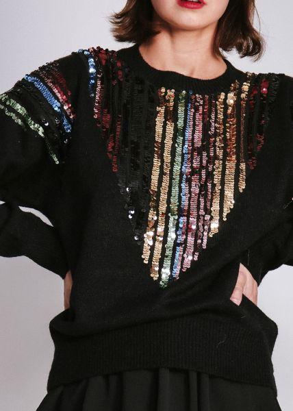 Pullover mit Pailletten, schwarz