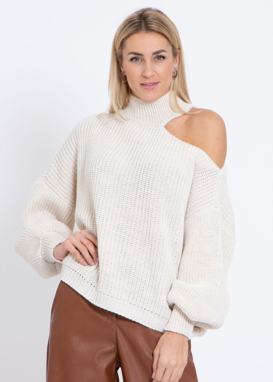 Oversize Cut-Out Pullover, beige