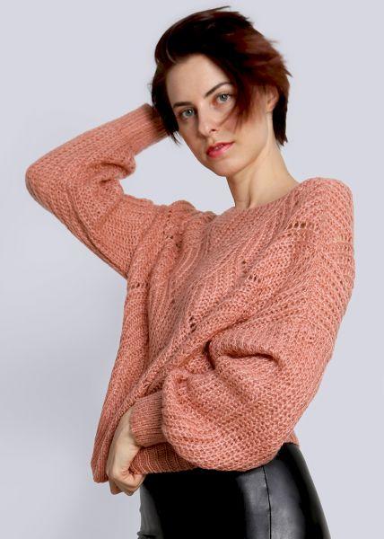 Luftig gestrickter Pullover, lachsrosa