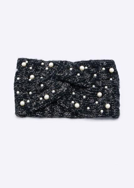 Stirnband mit Perlen, schwarz