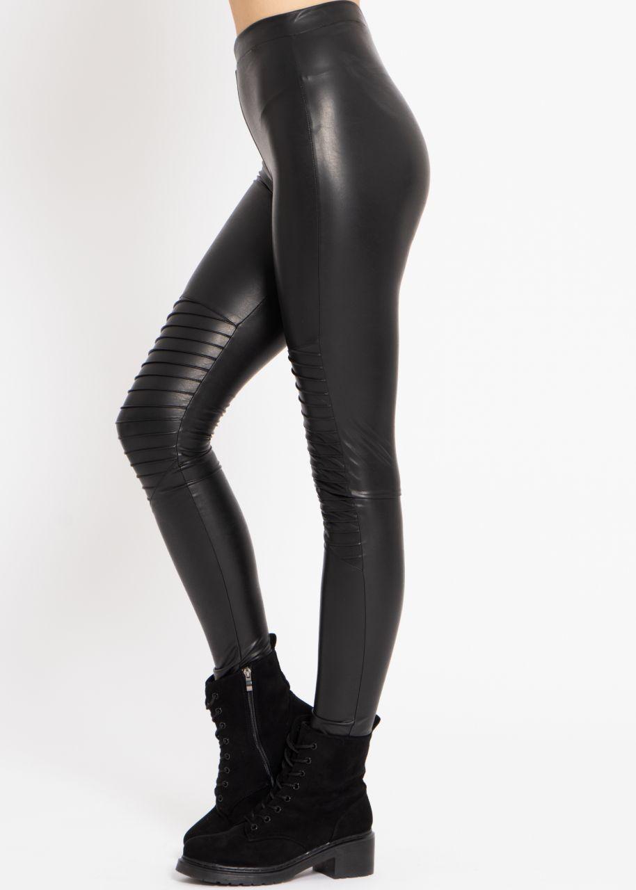 Biker-Leggings mit Absteppung, schwarz