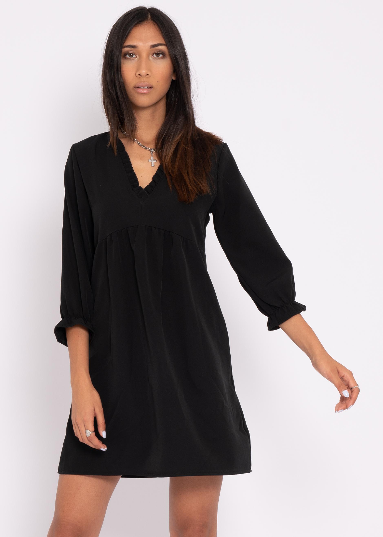 kleid mit rüschen-ausschnitt, schwarz