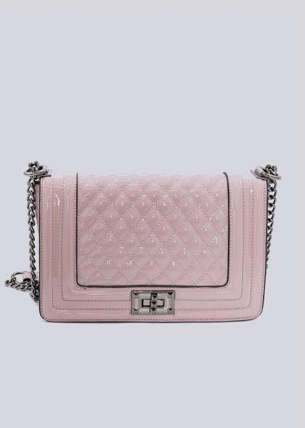 Lack-Tasche, gesteppt, rosa