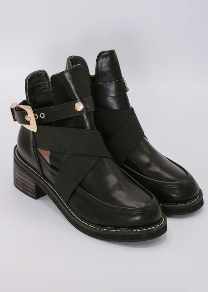 Cut-Out Boots mit goldener Schnalle, schwarz
