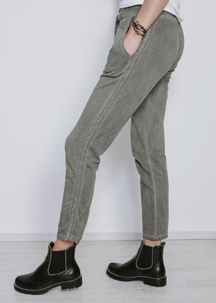 Lounge-Pants mit Glitzerstreifen, khaki