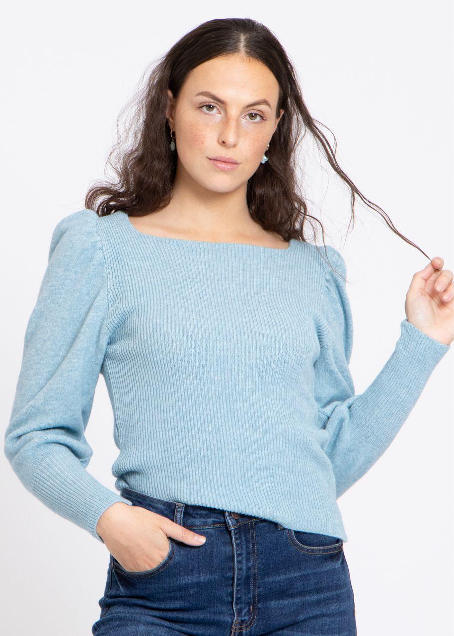 Pullover mit Ausschnitt, hellblau