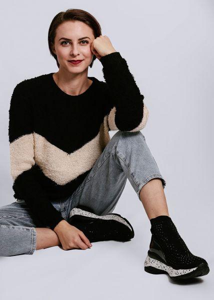 Pullover mit beige Einsätzen, schwarz