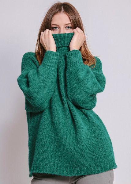 Oversize Rollkragenpullover, smaragdgrün