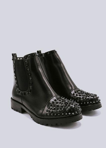 Chelsea-Boots mit Nieten vorne, schwarz