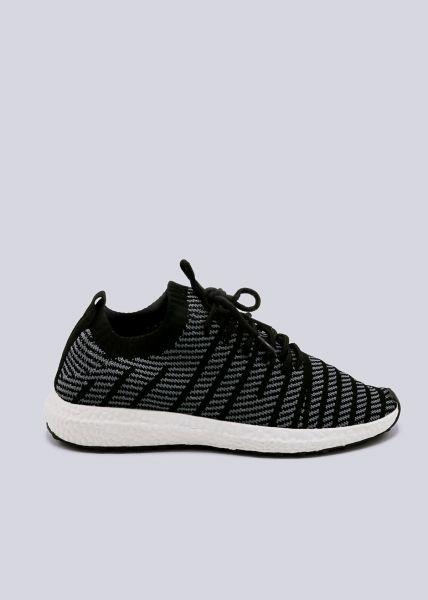 Sneaker mit Streifen, schwarz